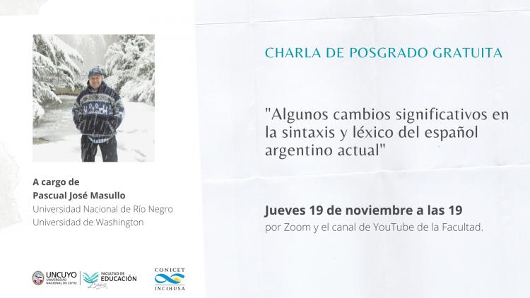 Ciclo de Posgrado sobre Lenguaje continúa con Pascual José Masullo