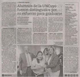 Diario El Sol | 4 de diciembre 2019 | Edición Papel | Alumnos de la UNCuyo fueron distinguidos por su esfuerzo para graduarse