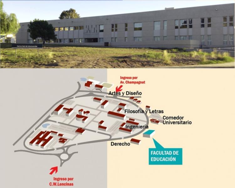 La Sede Campus de la Facultad de Educación está ubicada en el Centro Universitario de la UNCUYO, entre la Facultad de Derecho y el Comedor Universitario. Se puede acceder caminando, en bicicleta, en automóvil o a través del servicio de transporte público.