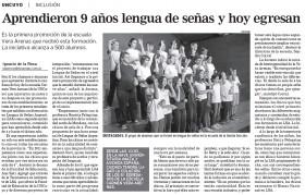 Diario Los Andes | 11 de diciembre 2019 | Edición Papel | Aprendieron 9 años lengua de señas y hoy egresan