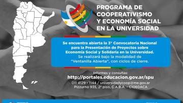 Abren convocatoria para proyectos sobre Cooperativismo y Economía Social