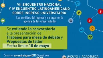 Prórroga para presentación de trabajos del VII Encuentro sobre Ingreso Universitario