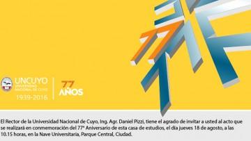 Invitan al acto en conmemoración del 77° Aniversario de la UNCUYO