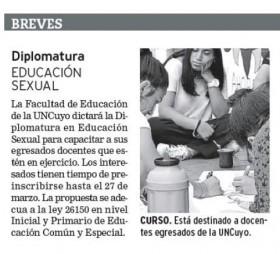 Diario Los Andes | 20 de febrero de 2020 | Edición Papel | Diplomatura Educación Sexual