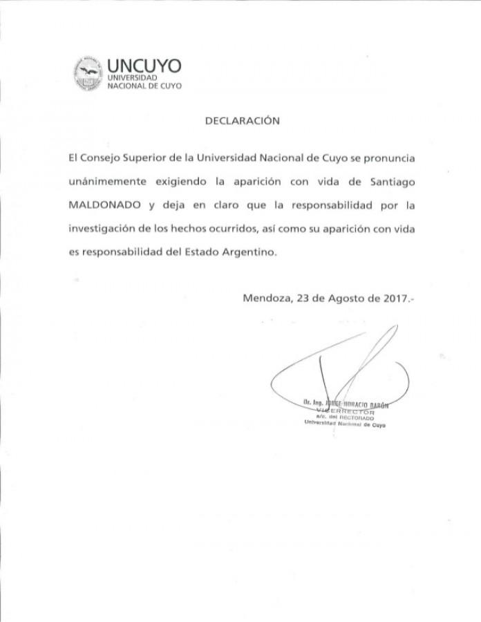 Declaración del Consejo Superior de la UNCUYO