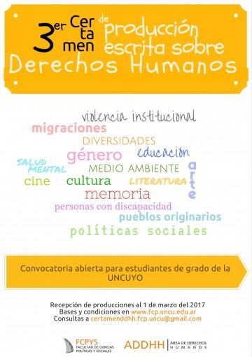 Prórroga del concurso de producción escrita sobre Derechos Humanos