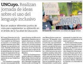 Los Andes | 9 de diciembre 2019 | Edición Papel | UNCuyo. Realizan jornada de ideas sobre el uso del lenguaje inclusivo