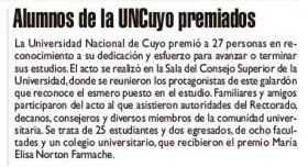 Diario Jornada | 4 de diciembre 2019 | Edición Papel | Alumnos de la UNCuyo premiados