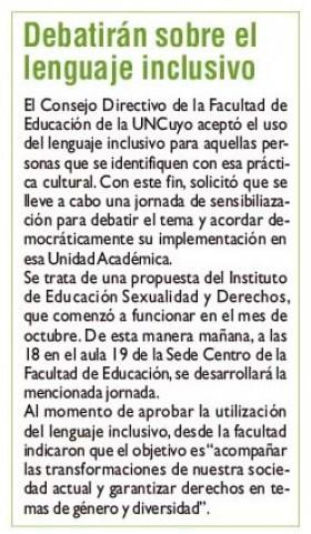 Diario Jornada | 9 de diciembre 2019 | Edición Papel | Debatirán sobre el lenguaje inclusivo