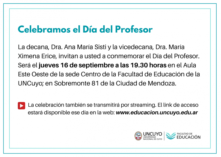 Link de acceso a la celebración del Día del Profesor en la Facultad de Educación