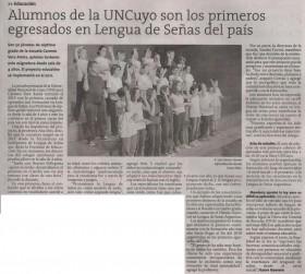 Diario El Sol | 11 de diciembre 2019 | Edición Papel | Alumnos de la UNCuyo son los primeros egresados en Lengua de Señas del país