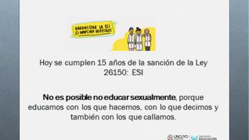 Se cumplen 15 años de la sanción de la Ley de Educación Sexual Integral