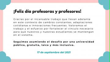 ¡Feliz día profesoras y profesores!